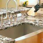White Black Mosaic Granite Kitchen Island | Marble.com
