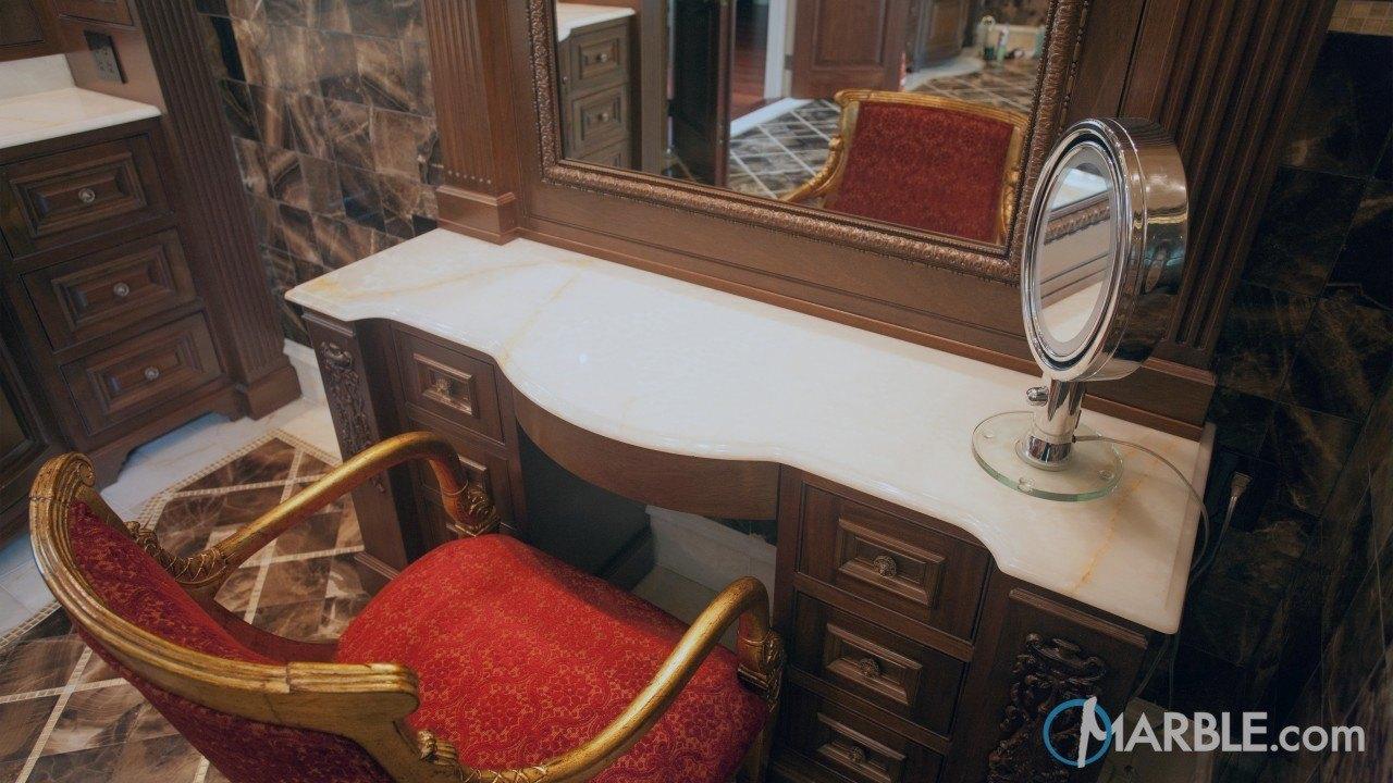 White Pistachio Onyx Makeup Station | Marble.com