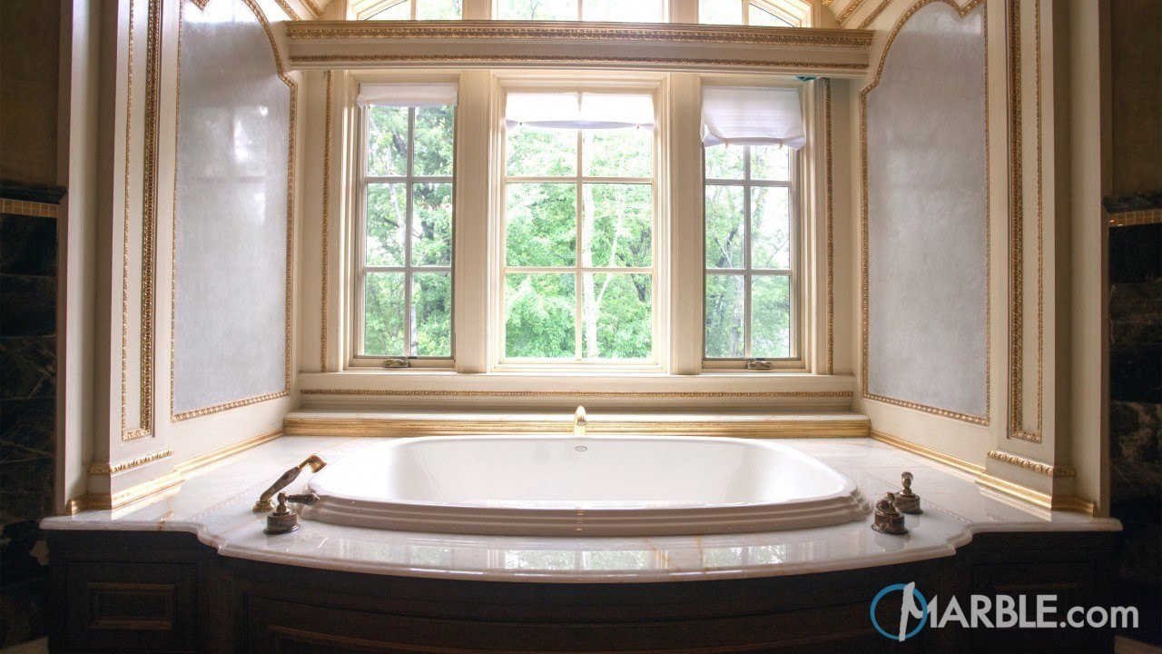 White Pistachio Onyx Hot Tub Surround