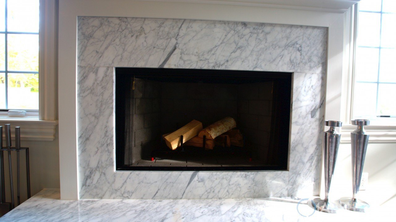 Super White Quartzite Fireplace Surround