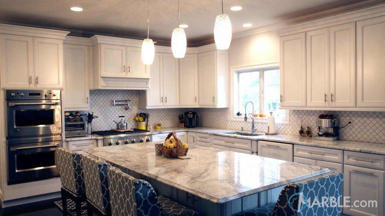 Super White Quartzite Countertops In An Elegant Kitchen | Marble.com