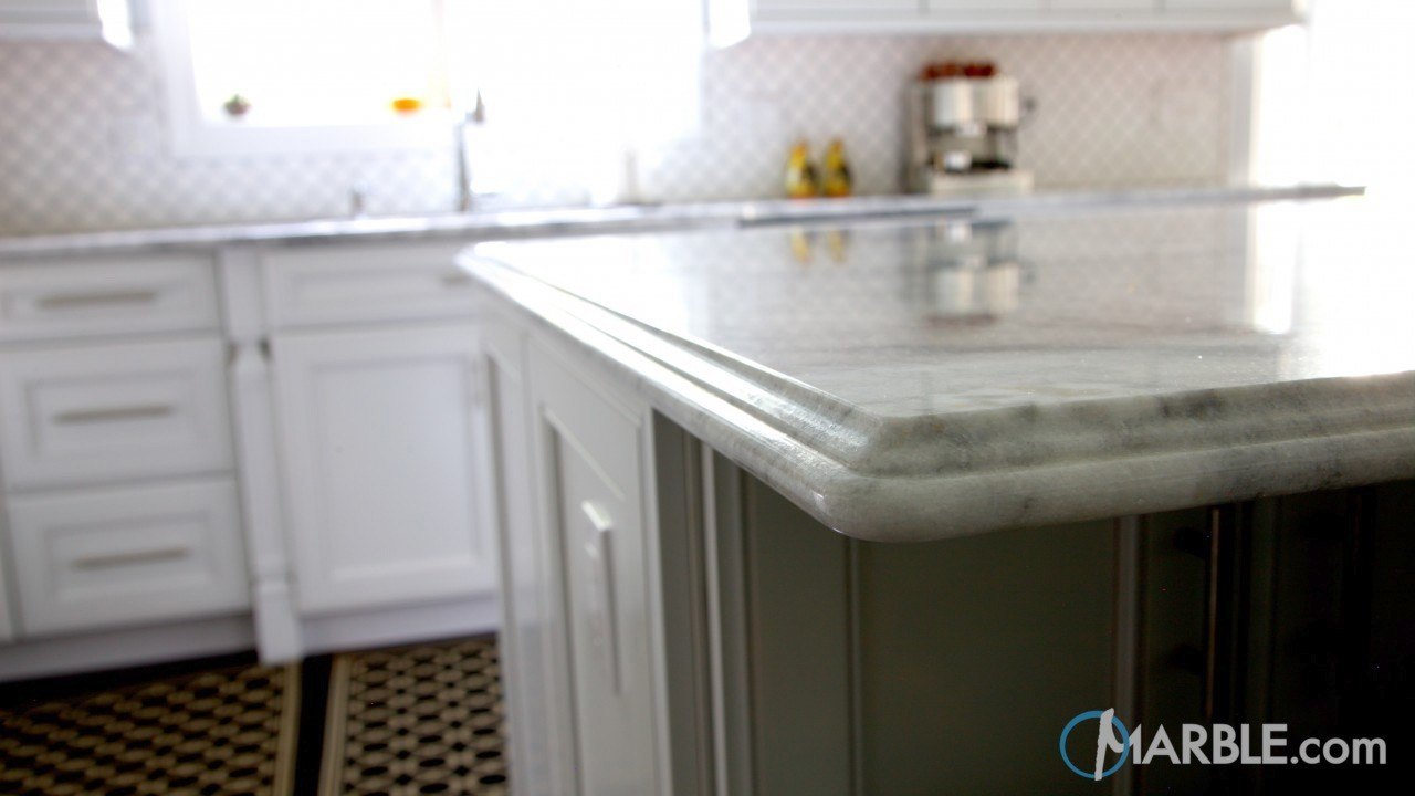Super White Quartzite Countertops In An Elegant Kitchen