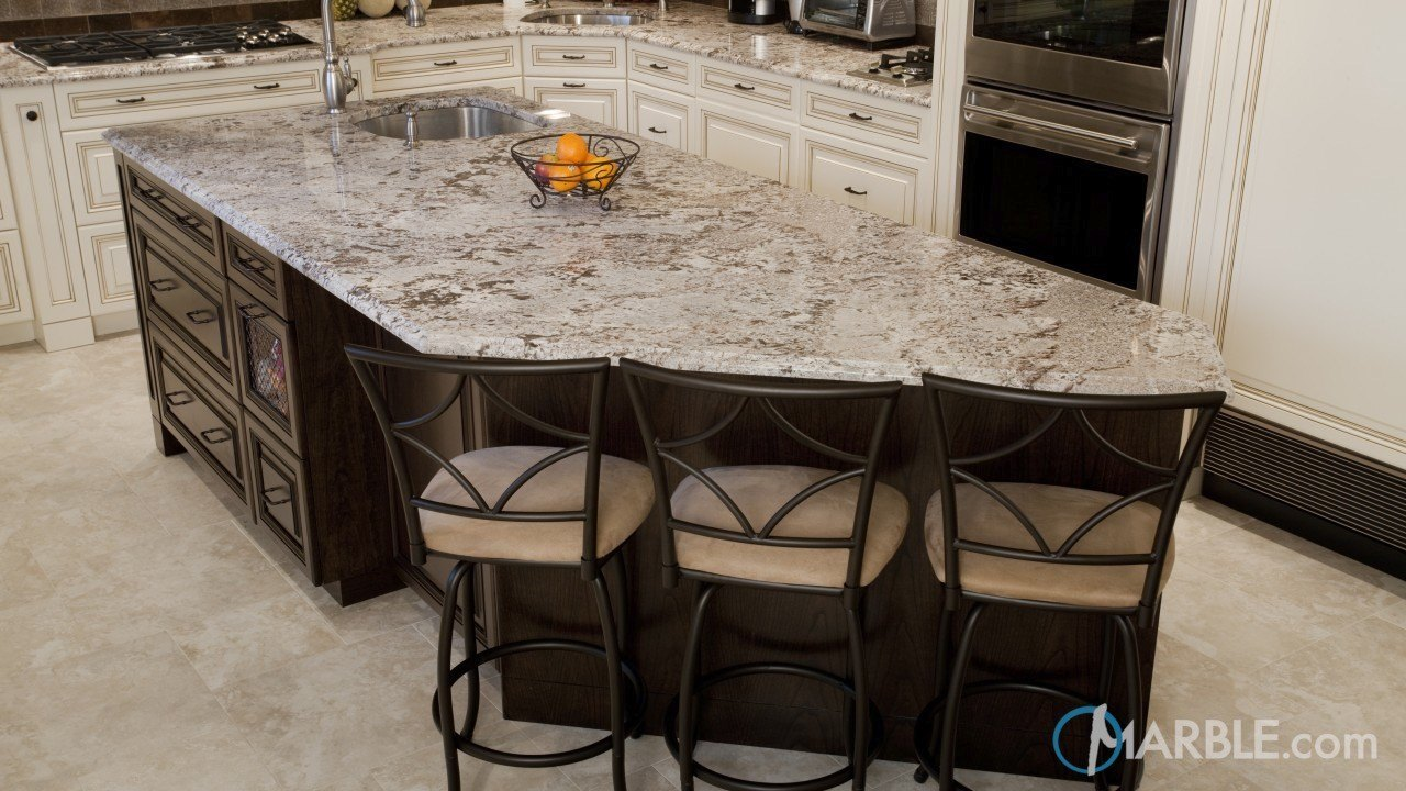 Bianco Antico Granite Kitchen With A Large Island | Marble.com