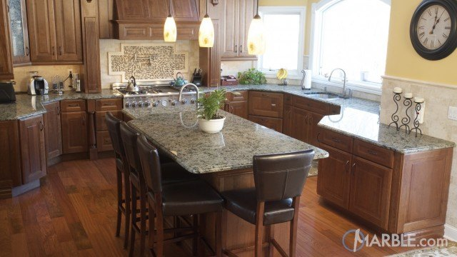 Yellow River Granite Kitchen Countertops With A Large