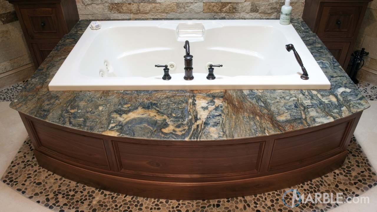 Blue Fire Granite Hot Tub Surround | Marble.com