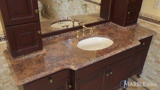 Pink bordeaux granite kitchen counters and bathroom vanities - Granite countertops for bathroom ...