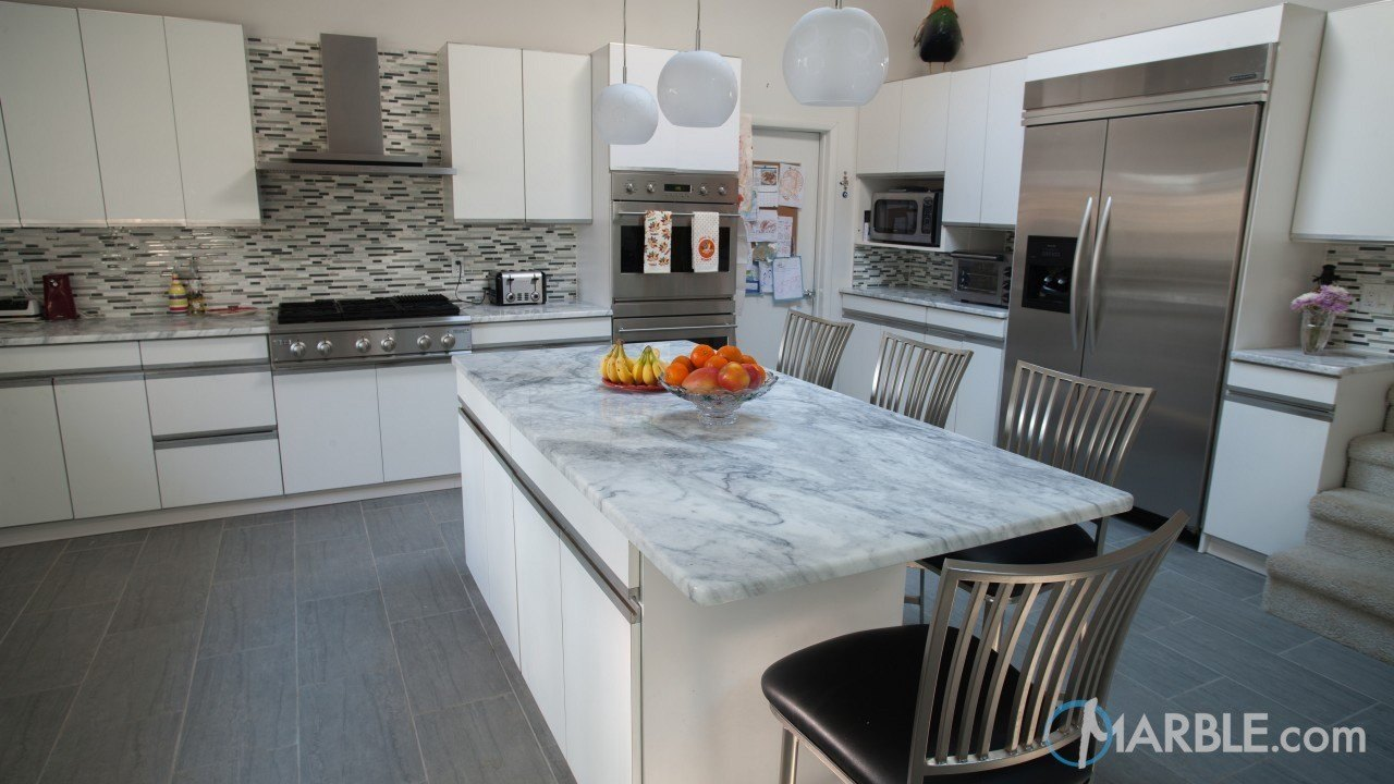 Classic White Quartzite Counter Top Kitchen | Marble.com