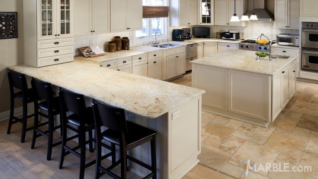 Colonial Gold Granite Large Kitchen With Island. Stone tiles, white cabinets  ...