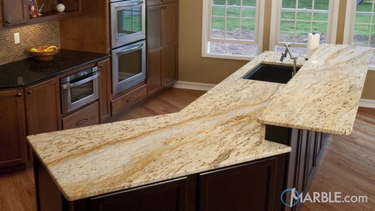 Colonial Gold Granite Kitchen Island  | Marble.com