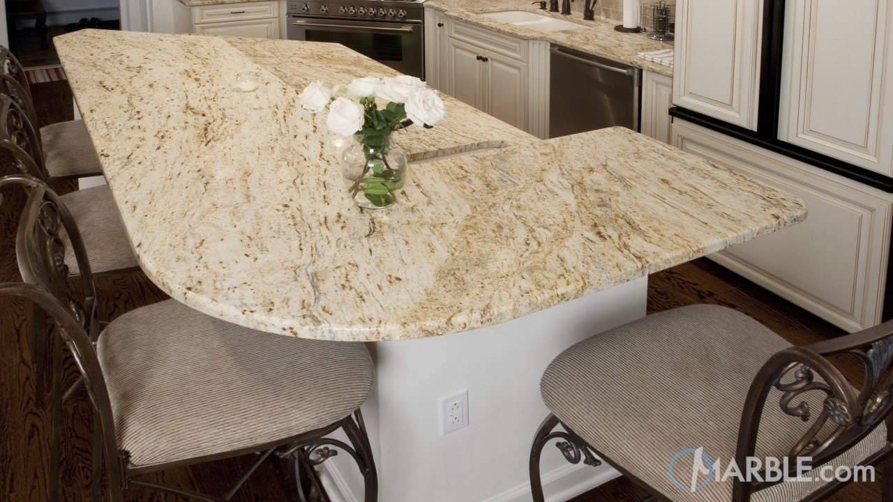 Colonial Gold Granite Kitchen With Multi Layer Island | Marble.com
