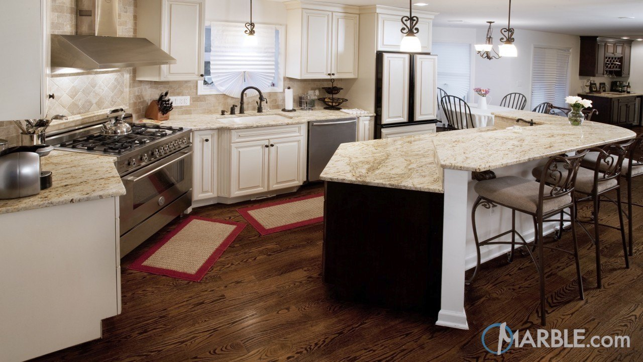 Colonial Gold Granite Kitchen With Multi Layer Island