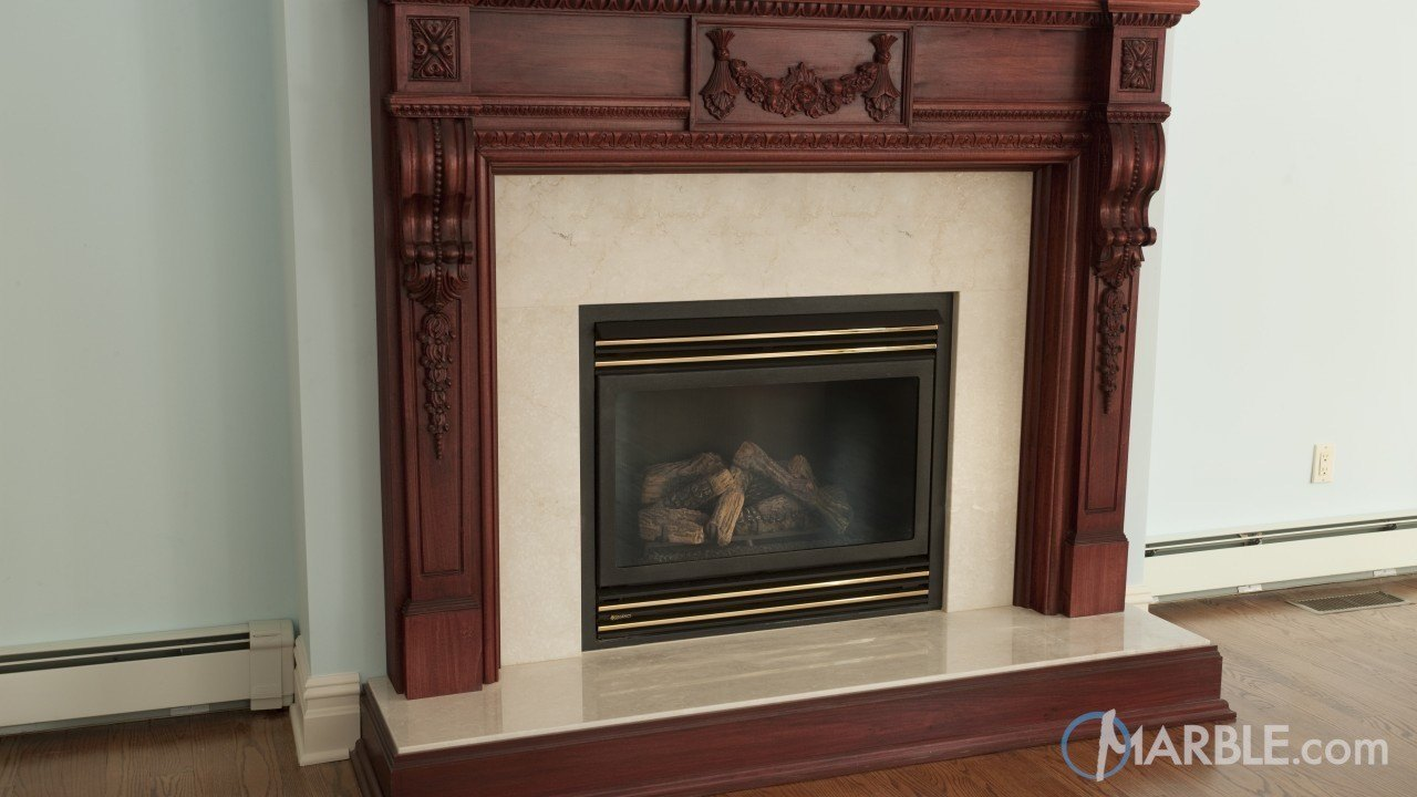 Crema marfil fireplace surround for Marble for fireplace surround