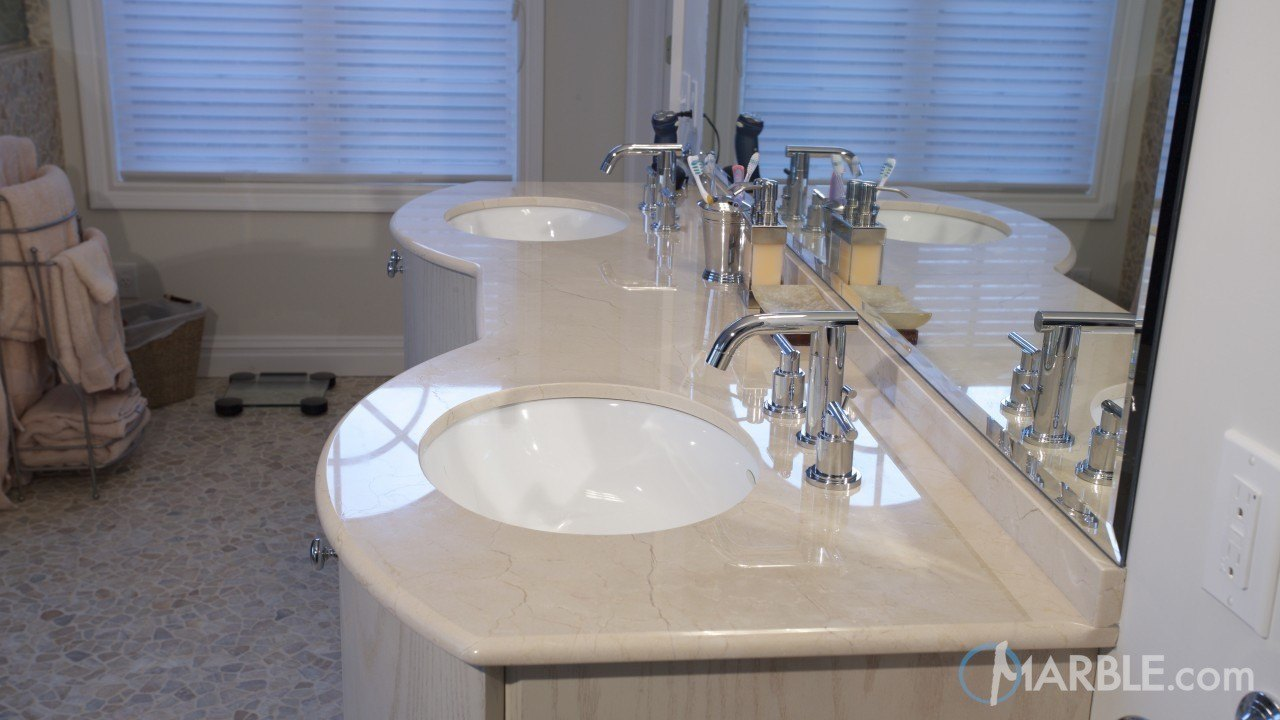 Crema marfil marble bathroom vanity - Best paint color for crema marfil bathroom ...