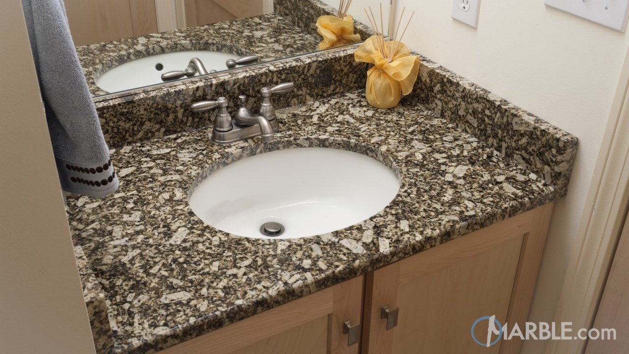 Florence Gold Granite Bathroom With His and Her Sinks | Marble.com
