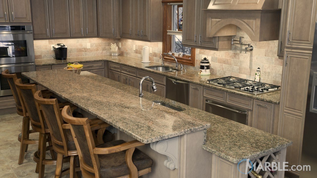 Key West Gold Granite Kitchen | Marble.com