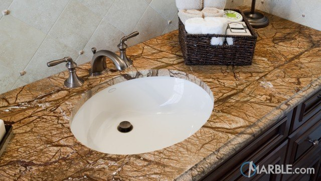 Rain Forest Brown Marble Bathroom Countertop