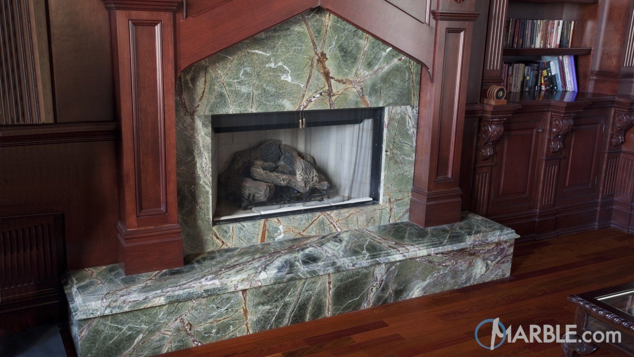 Rain Forest Green Fireplace Surround | Marble.com