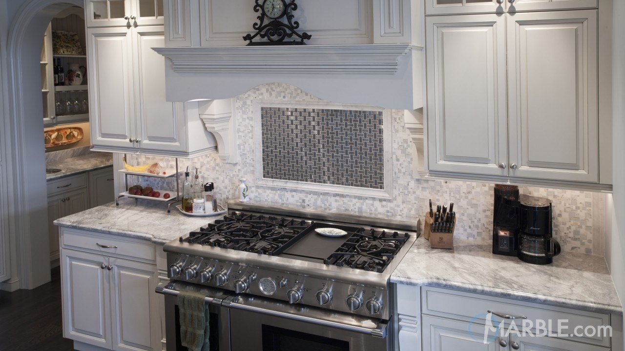 White Fantasy Marble Kitchen