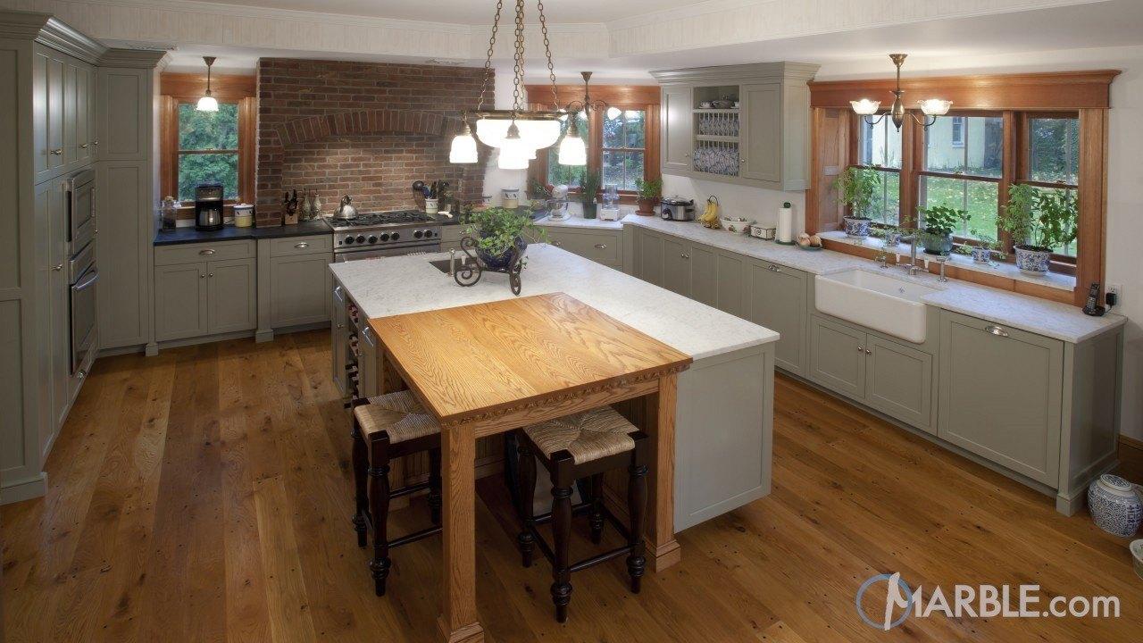 White Carrara Marble & Oscuro Mist Satin Granite Kitchen Countertops | Marble.com