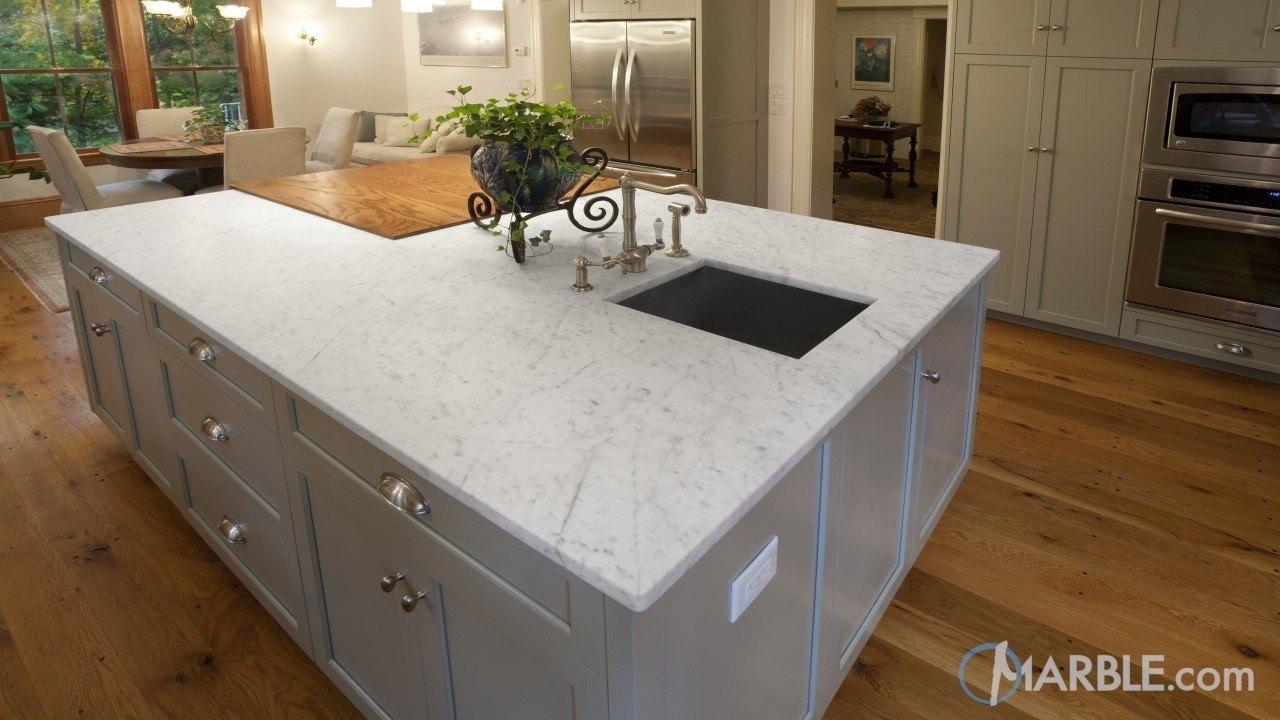 White Granite Kitchen Countertops carrara marble & oscuro mist satin granite kitchen countertops