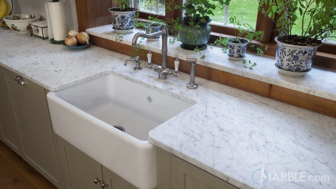 White Carrara Marble Oscuro Mist Satin Granite Kitchen Countertops