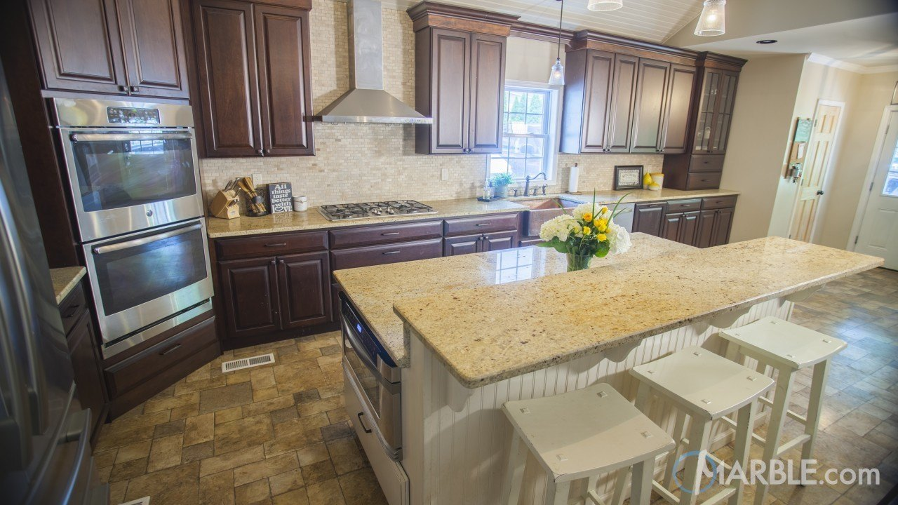 Madura Gold Granite Kitchen Countertop and Island. | Marble.com
