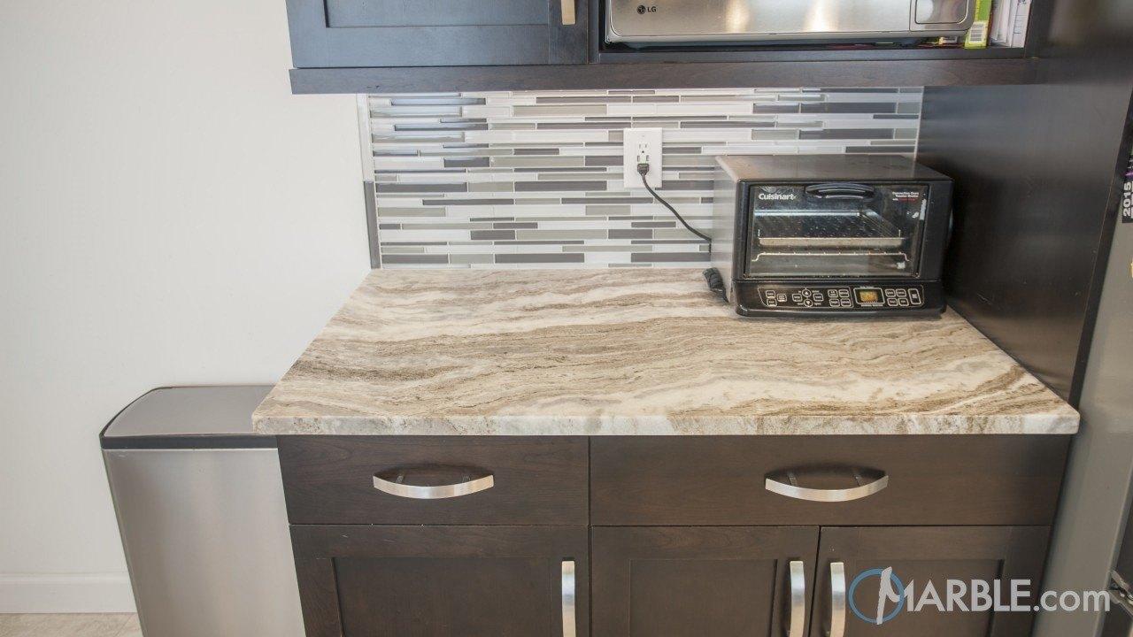 Fantasy Brown Quartzite Kitchen Counter With Dark Cabinets