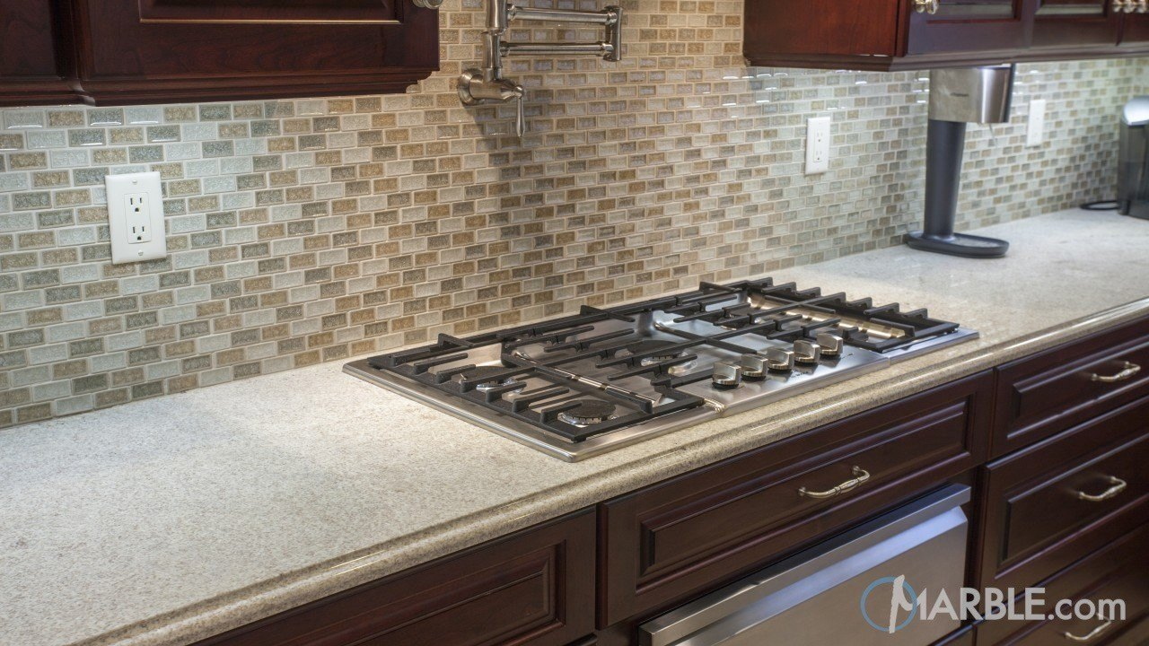 Itaunas White Granite Kitchen Countertop With An Ogee Edge
