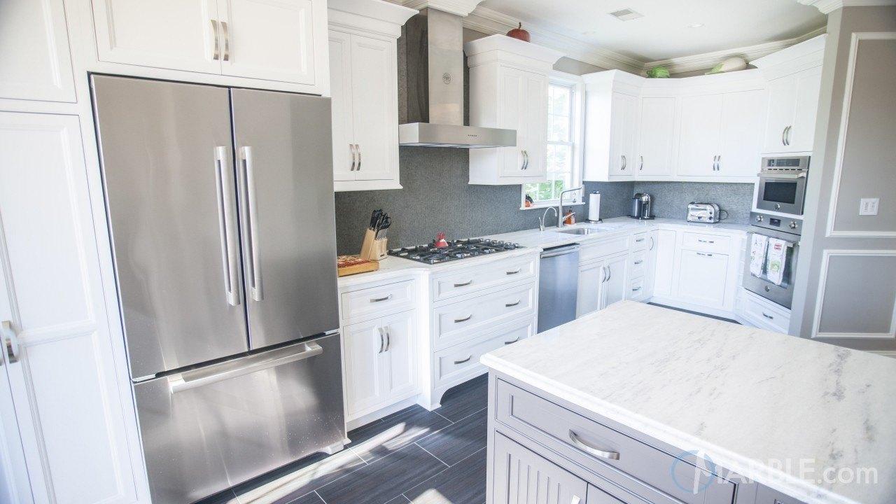 Classic White Quartzite Kitchen Counter | Marble.com