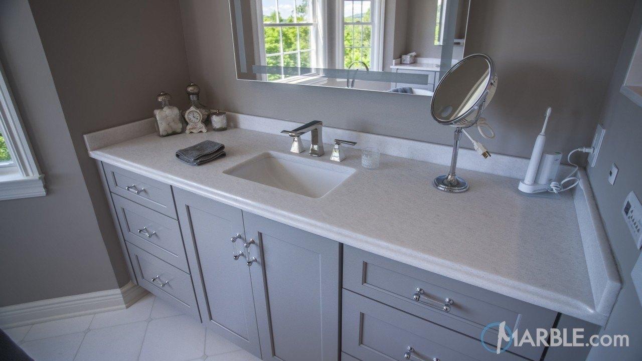 Classic White Quartzite Bathroom Vanity Marble Com