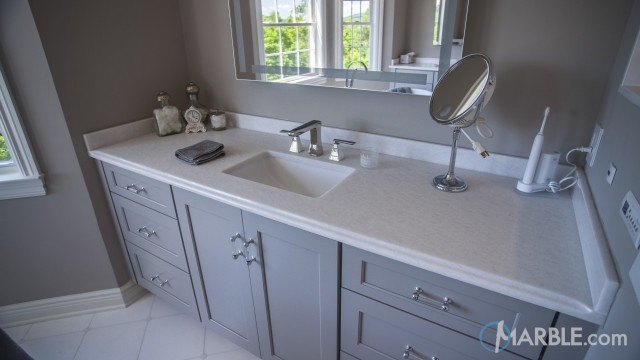Classic white quartzite bathroom vanity