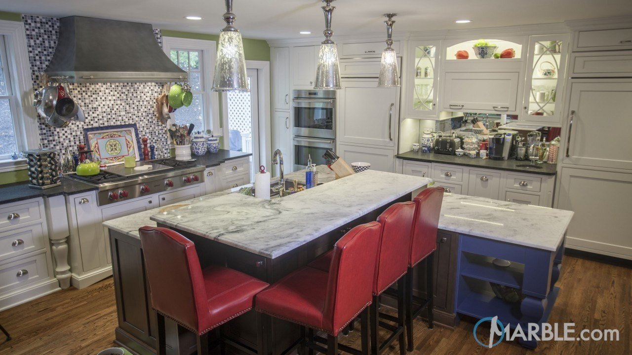 Classic White Quartzite & Absolute Black Honed Granite | Marble.com