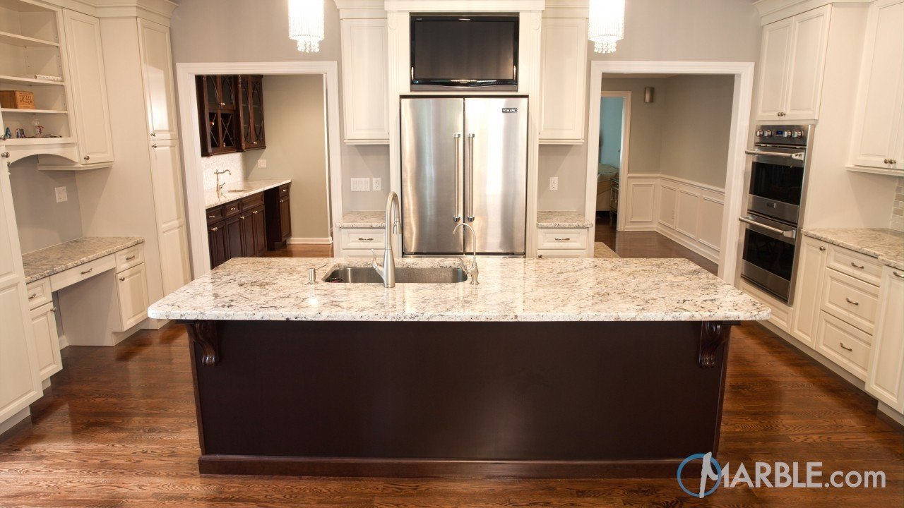 Images Of Kitchens With Snowfall Granite Countertops