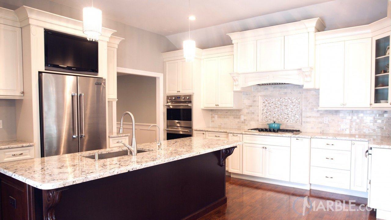 Snow White Granite Kitchen Countertop  | Marble.com
