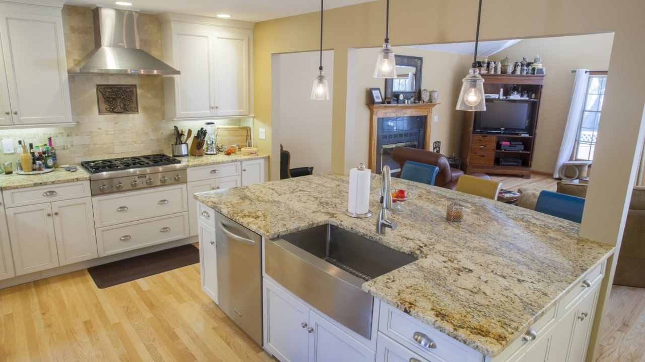 yellow river granite kitchen countertops with a large island