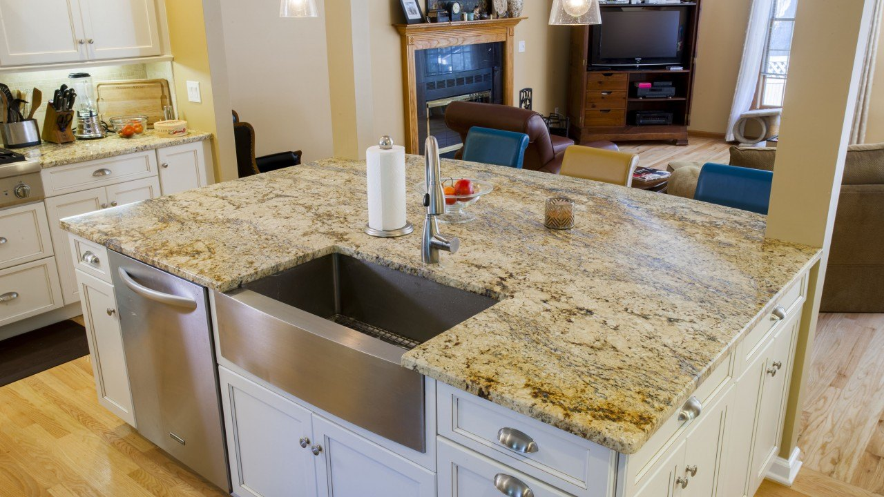 Yellow River Granite Kitchen Countertops with a Large Island | Marble.com