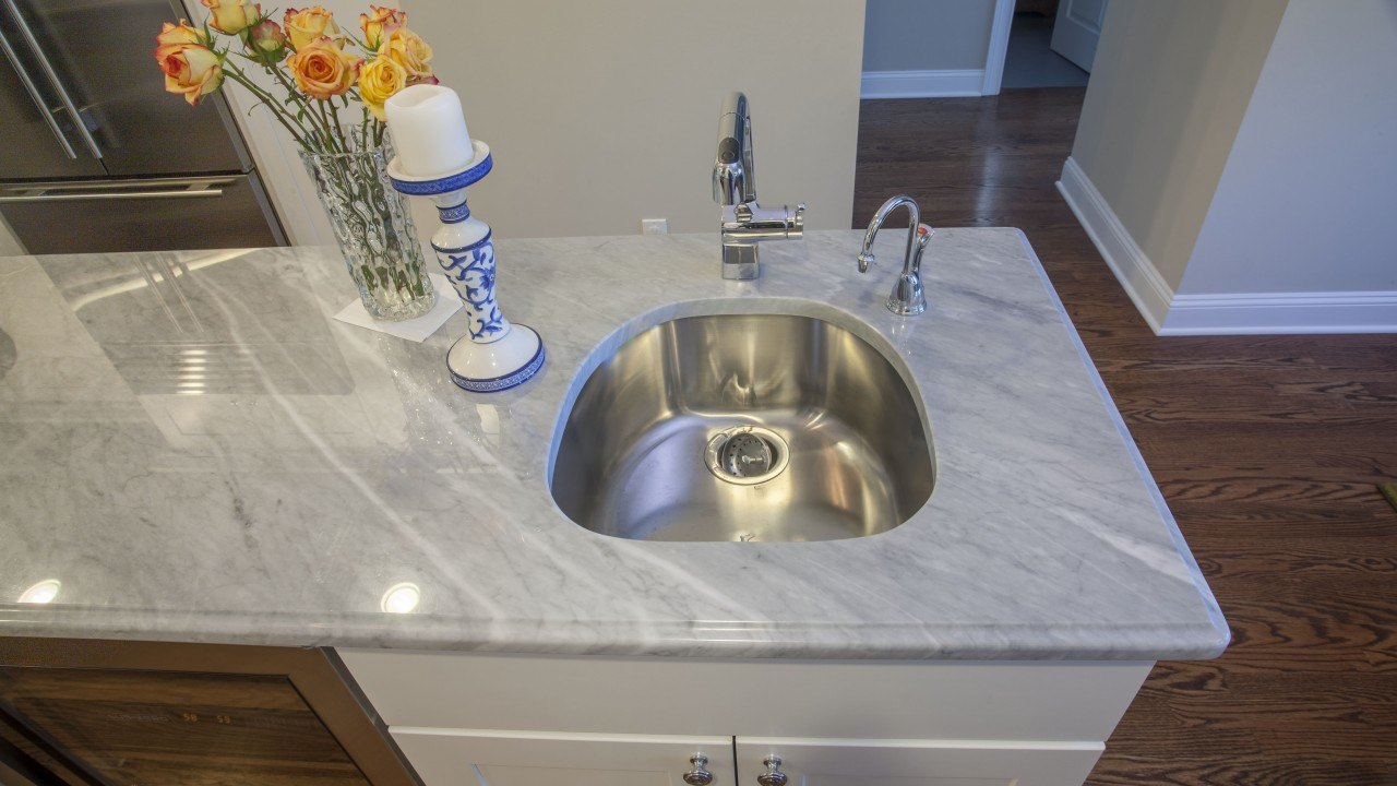 Sparkling Blue Marble and Clamshell Quartz Kitchen Countertops | Marble.com