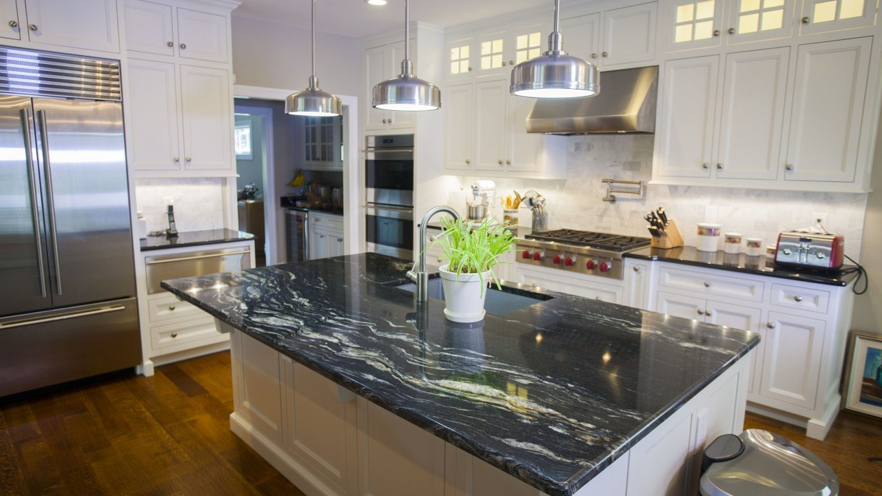 Cosmic Black Black Galaxy Granite Kitchen Countertops