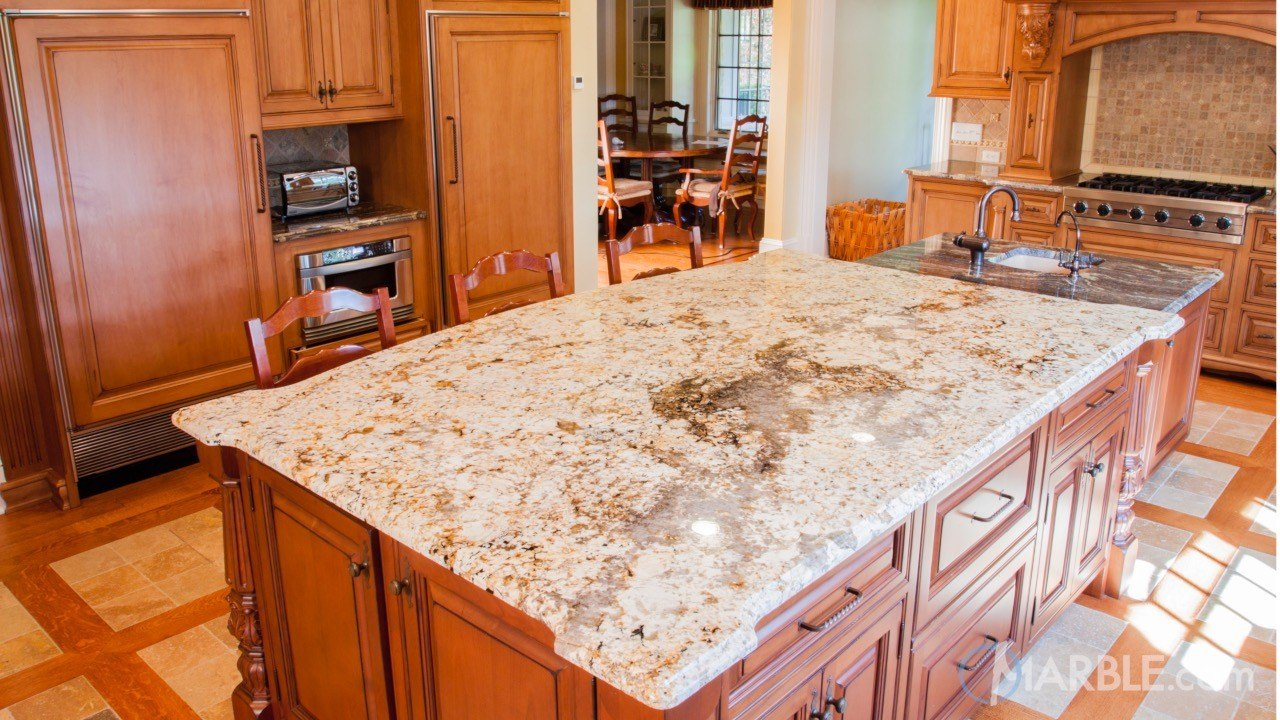 Siena Biege and Black Thunder Granite Kitchen Countertops | Marble.com