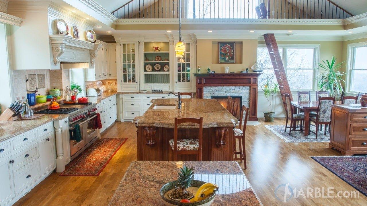 Madura Gold Kitchen Granite Countertops With Oak Cabinets