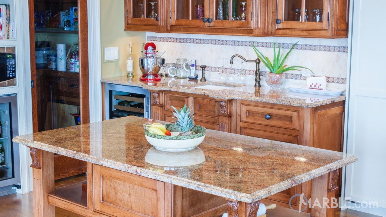 Madura Gold Granite Countertops With Oak Cabinets Marble Com