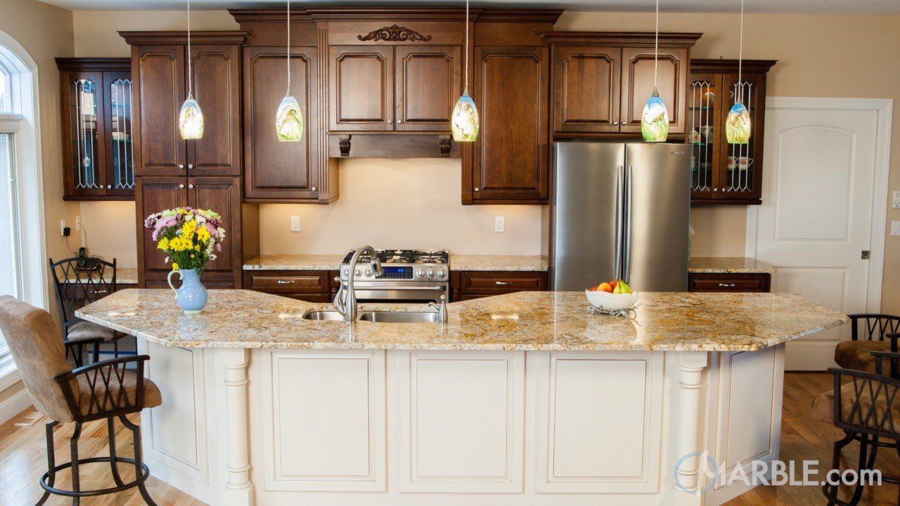 Golden Silver Kitchen Granite Countertops | Marble.com