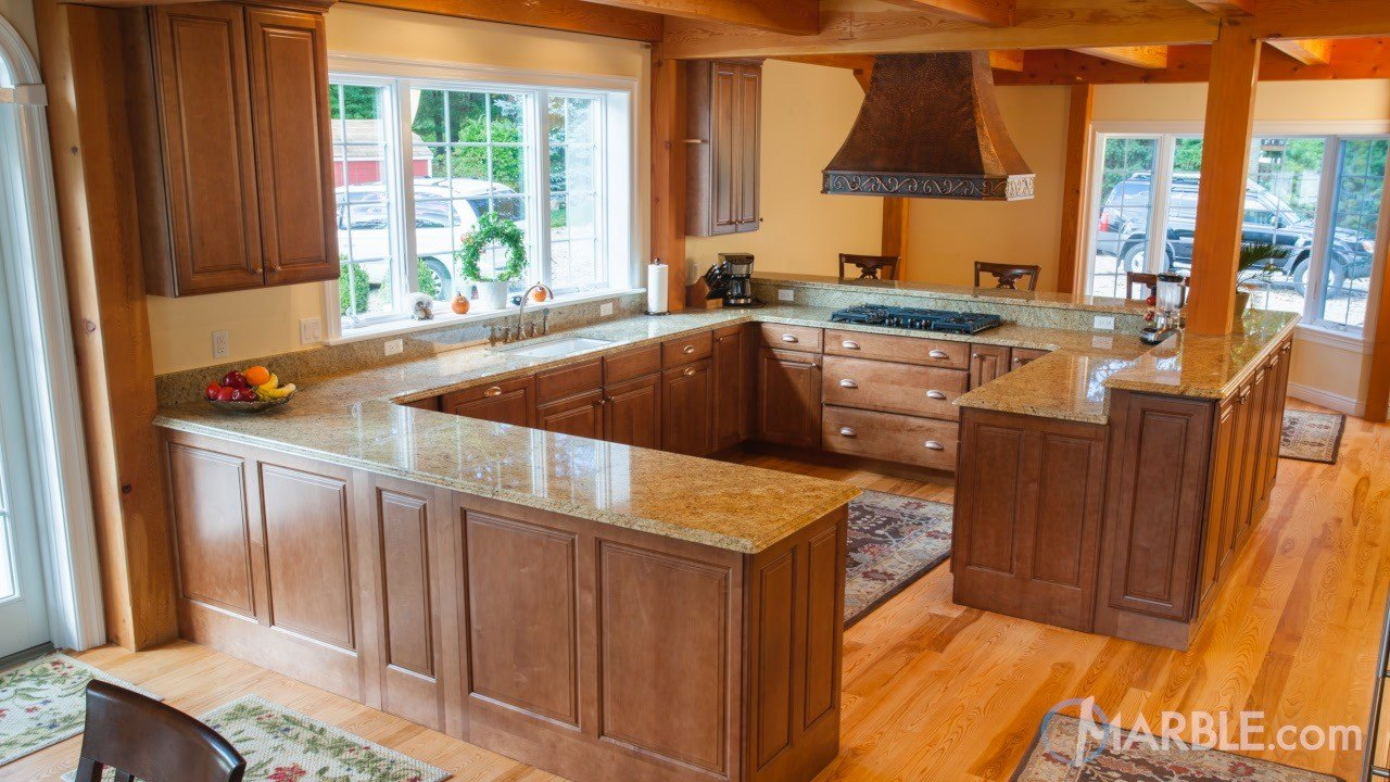 Amba gold granite kitchen countertops - Kitchen design marble countertops ...