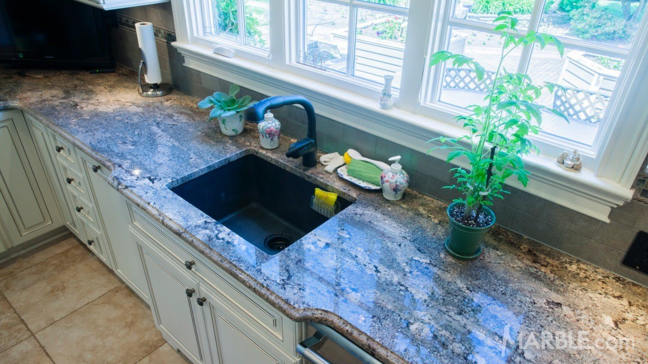 quartz nj countertop blue in project installation towaco shining countertops