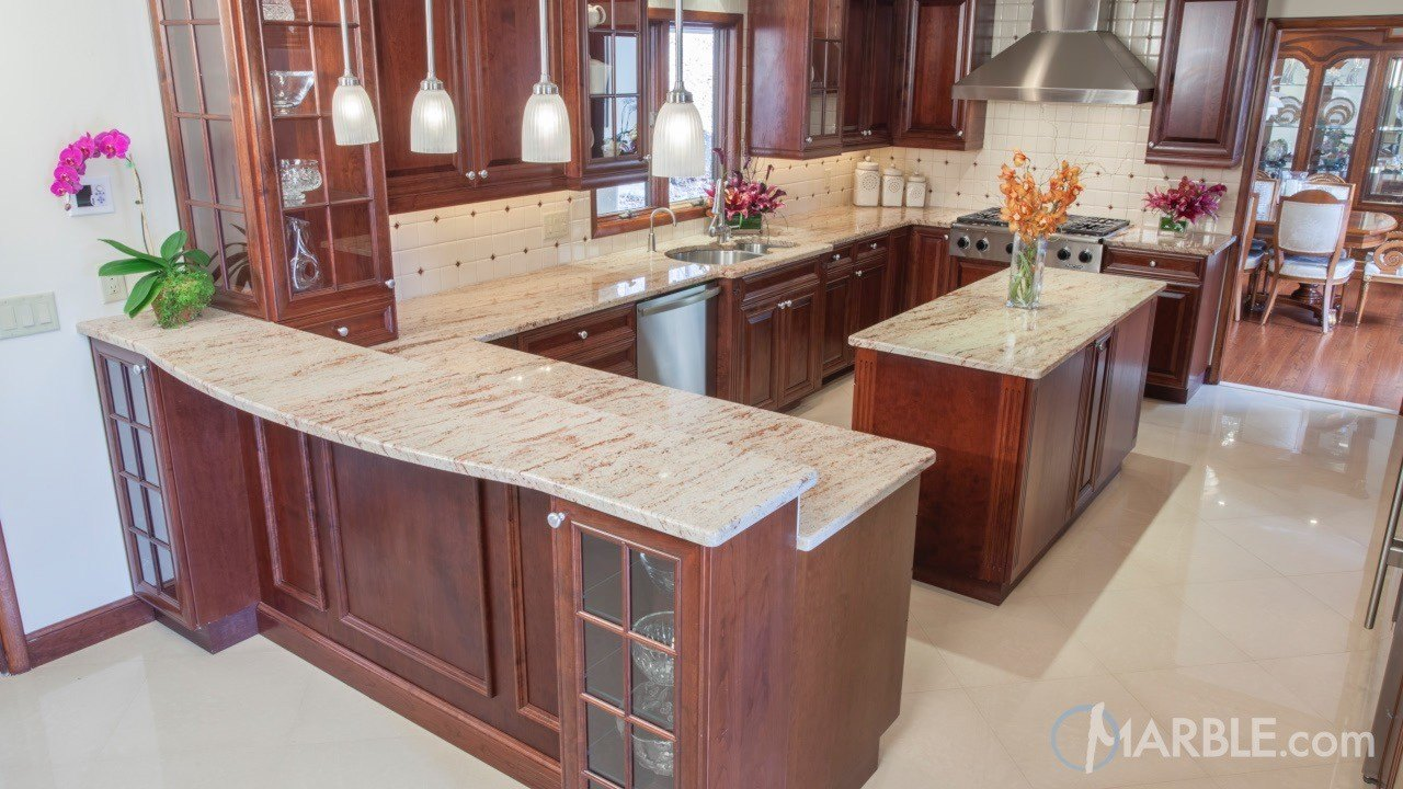 Ivory brown kitchen granite counters
