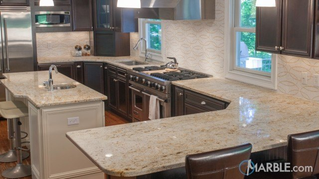 Beautiful Colonial Gold Large Kitchen Granite Countertops