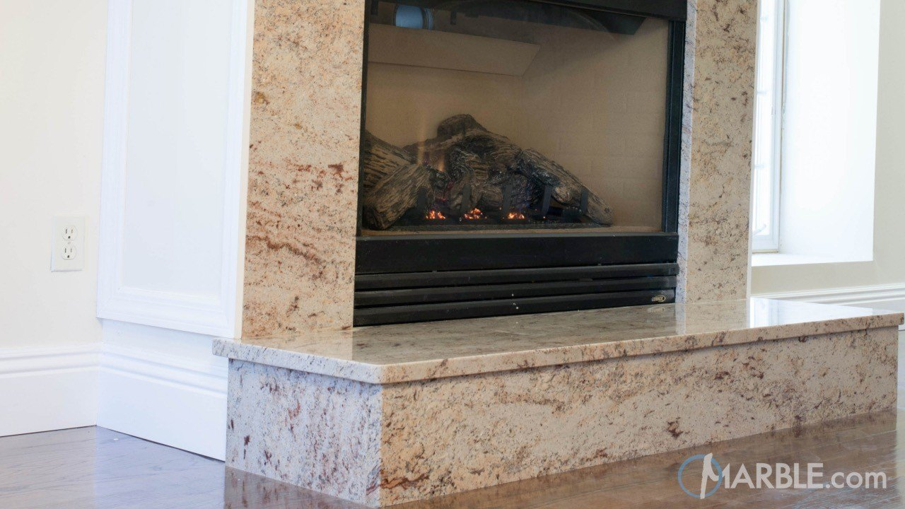 Ivory Brown Granite Fireplace | Marble.com