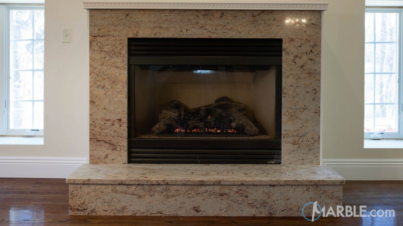 Ivory Brown Granite Fireplace Surround