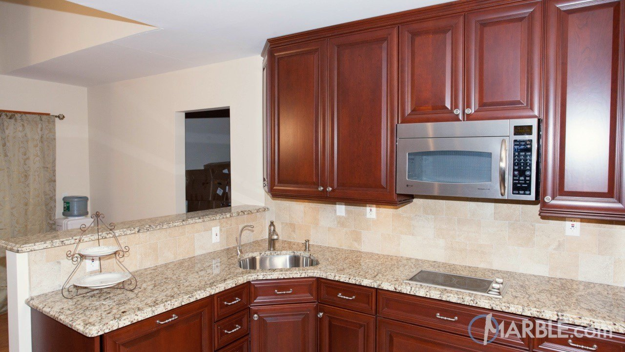 Santa Cecilia Granite Kitchen Cecilia Granite Kitchen With Cherry Wood Cabinets