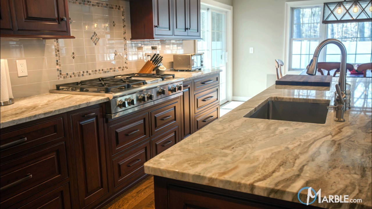 Fantasy brown quartzite kitchen countertops Marble granite kitchen design clifton nj